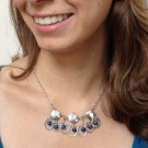 Sterling Silver Diamond Shapes and Hoops Necklace with Lapis Beads