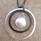 Sterling Silver Necklace with Two Hoops and a Pearl