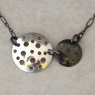 Sterling Silver Double Discs Necklace