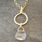14K Gold Filled Necklace with a Ring and Swarovski Crystal