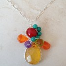 Sterling Silver Colorful Stones Wrapped Pendant Necklace