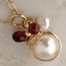 14K Gold Filled Necklace with a Wrapped Pearl, Garnet, and a Fresh Water Pearl