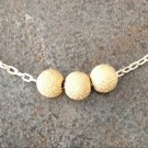 Sterling Silver Necklace with Three Gold Filled Beads