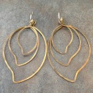 Three Leaves Brass Earrings