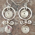 Sterling Silver Earrings with Hoops and Swirls