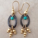 Sterling Silver Earrings with Gold Filled and Turquoise Beads