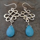 Sterling Silver Lattice Earrings with Blue Quartz Briolettes