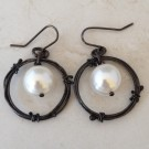 Sterling Silver Antiqued  Hoop Earrings with Pearls