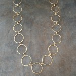 Classic  14K Gold Filled Circles Long Necklace
