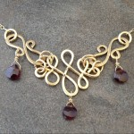 14K Gold Filled Vintage Inspired Necklace with  Garnet briolettes