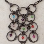 Sterling Silver Necklace with 12 Hoops and Swarovski Crystal Beads