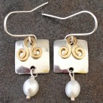 Sterling Silver and Gold filled Earrings with Squares, Swirls and pearls