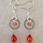 Sterling Silver Earrings with Rings and Fire Cubic Zirconia Briolettes