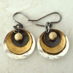 Sterling Silver and Brass Earrings with Three Discs