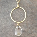 14K Gold Filled Long Necklace with a Hoop Pendant and a Crystal Briolette