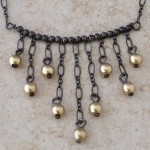 Sterling Silver Cascade Necklace with 14K Gold Filled Beads