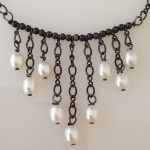 Sterling Silver Cascade Necklace with Pearls