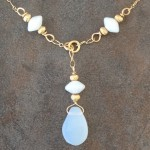 14K Gold Filled Necklace with Vintage Opal Glass