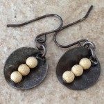 Oxidized Sterling Silver Earrings with Discs and 14K Gold Filled Beads