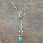 14K Gold Filled and Turquoise Double Hoop Lariat