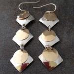 Sterling Silver and 14K Gold Filled Geometric Earrings with Squares and Circles