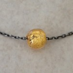 Oxidized Sterling Silver Necklace with Gold Murano Glass