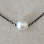 Oxidized Sterling Silver Necklace with a Pearl