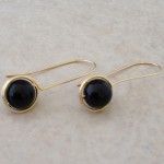 14K Gold Filled Earrings with Wrapped Black Onyx Beads