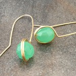 14K Gold Filled Green Chalcedony Wrapped Earrings