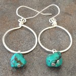 Sterling Silver Hoop Earrings with Turquoise Nuggets