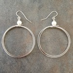 Sterling Silver Double Strip Hoop Earrings with Swarovski Pearls