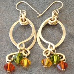 14K Gold Filled Dangling Curves Earrings with Colorful Swarovski Crystals