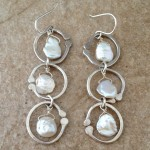 Sterling Silver Earrings with Three Hoops and Three Pearls