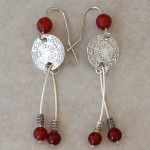 Sterling Silver Earrings with Old Coins and Carnelian Beads