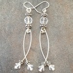 Sterling Silver Earrings with Swinging Swarovski Crystals