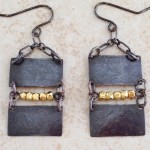 Sterling Silver Rectangles with Gold Filled Beads Earrings