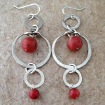 Sterling Silver Earrings with Three Hoops and Coral Beads