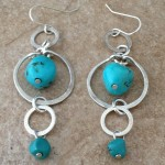 Sterling Silver Earrings with Three Hoops and Turquoise Beads