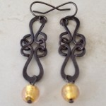 Sterling Silver Antiqued Earrings with Murano Beads