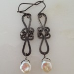 Sterling Silver Antiqued Earrings with Pearls