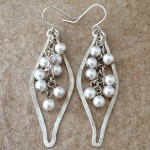 Sterling Silver Eastern Inspired Earrings with  Swarovski Glass Pearls