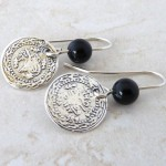 Sterling Silver Old Coins Earrings with Black Onyx