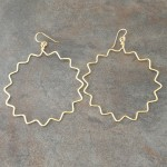 Sterling Silver Oxidized Earrings with Large Zigzag  Hoops