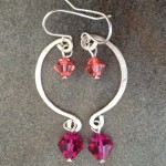 Sterling Silver Mobile Earrings with Crystal Beads