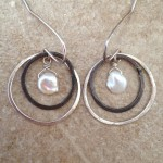 Sterling Silver Earrings with Two Hoops and Pearls
