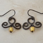 Small Sterling Silver Oxidized Earrings with Murano Beads