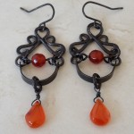 Boho Chic  Antiqued Sterling Silver Earrings with Carnelian