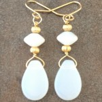 14K Gold Filled Earrings with Vintage Opal Glass