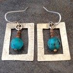 Sterling Silver Earrings with Turquoise and Copper Beads
