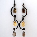Sterling Silver Mobile Earrings with Smoky Quartz and Citrine Briolettes